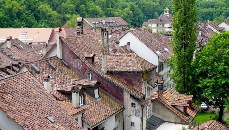 Крыша города и дома городка взгляд сверху старая стоковое фото rf