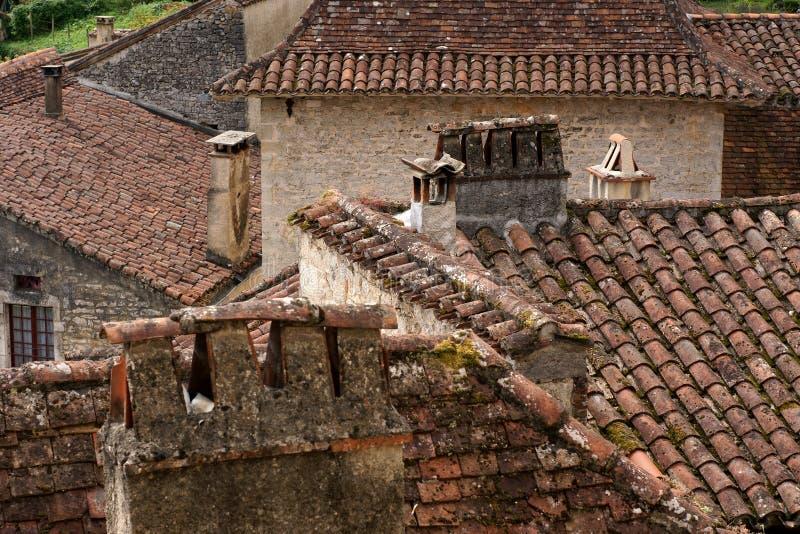 Крыши в старом французском селе стоковая фотография