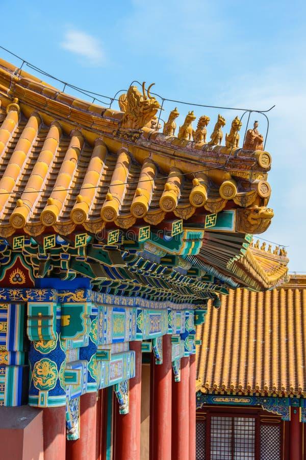 Крыши запретного города зданий в Пекине стоковое фото rf