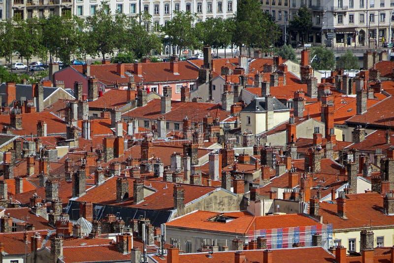 Крыши Лиона красные стоковое фото rf