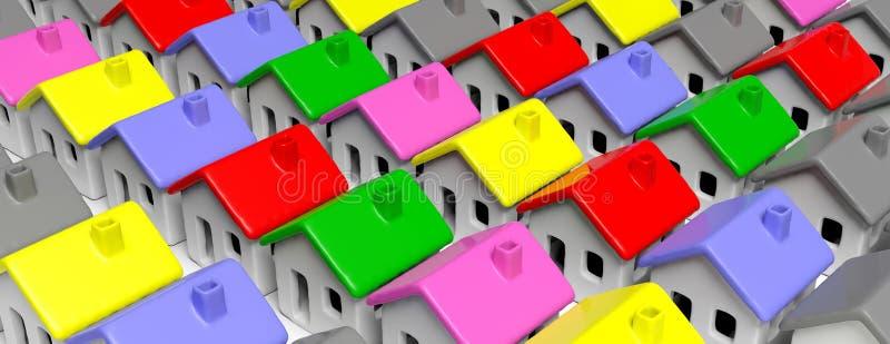 Крыши моделей дома multicolor, предпосылка, знамя иллюстрация 3d иллюстрация вектора