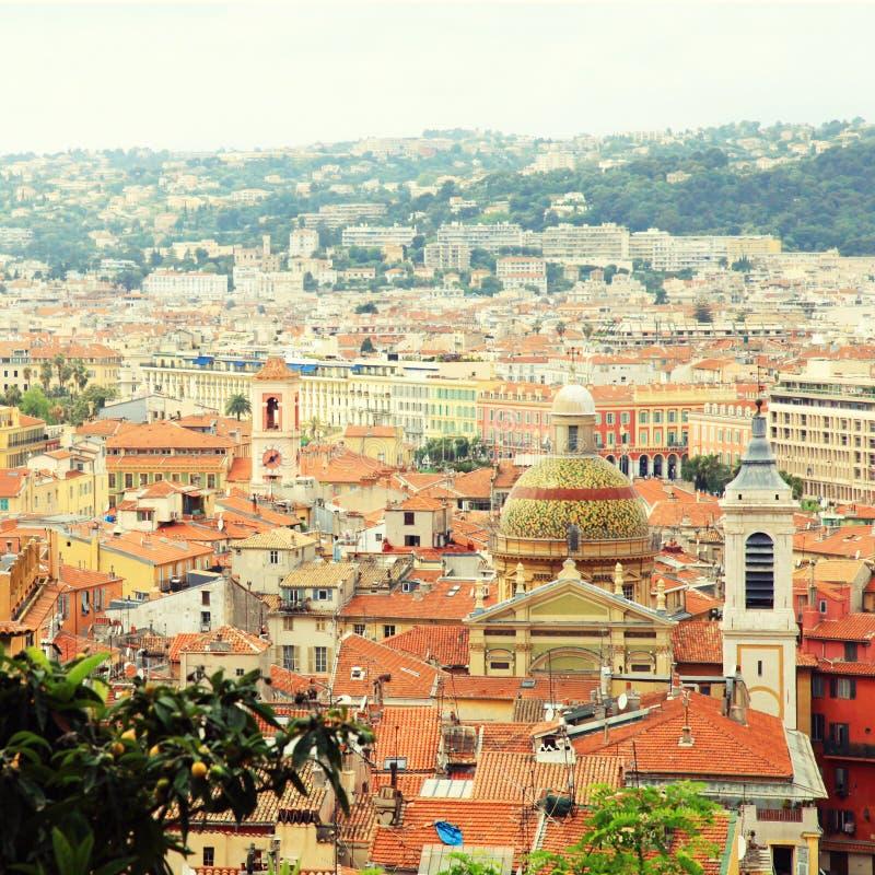 Крыши плитки славного (Франция), осматривают сверху стоковое фото rf