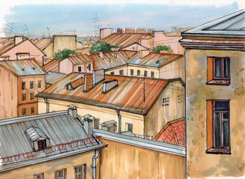 Крыши Санкт-Петербурга иллюстрация вектора