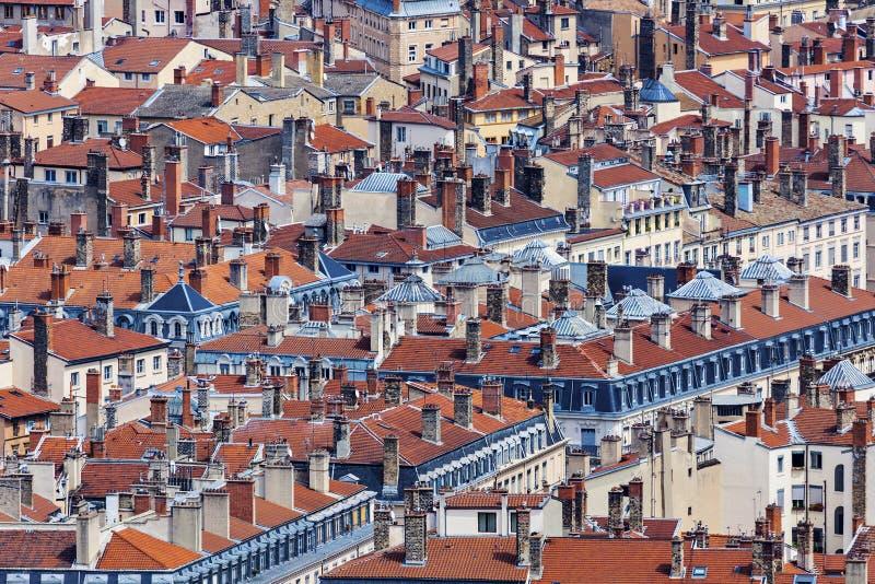Крыши старого городка в Лионе стоковые изображения rf