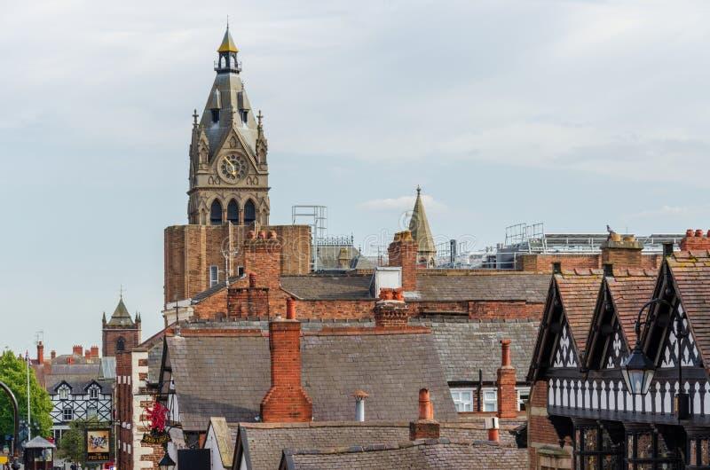 Крыши центра города Честера стоковое изображение