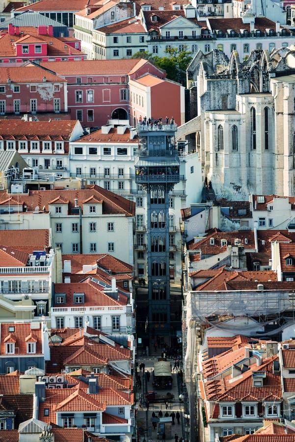 Крыши Baixa в Лиссабоне стоковые фотографии rf