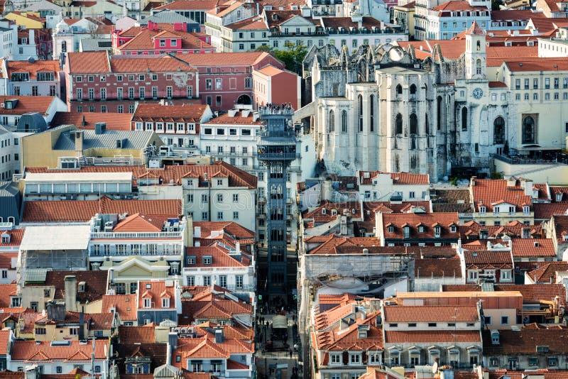 Крыши Baixa в Лиссабоне стоковые фото