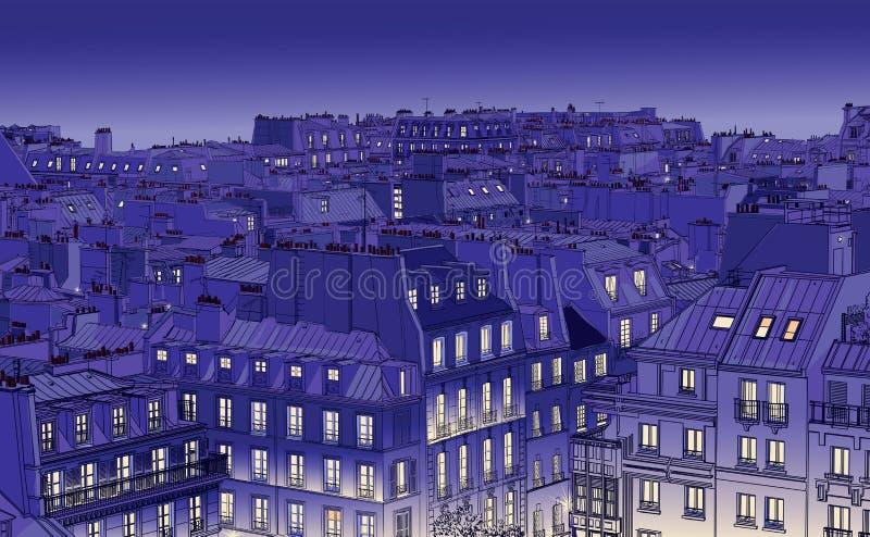 крыши paris иллюстрация штока