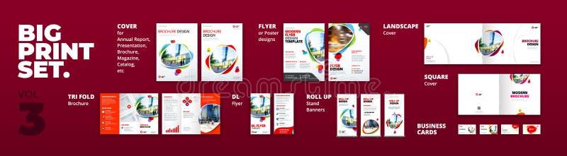 Крышка брошюры шаблона печати фирменного стиля установленная, летчик, trifold, визитная карточка, свертывает вверх Клеймя дизайн  иллюстрация штока