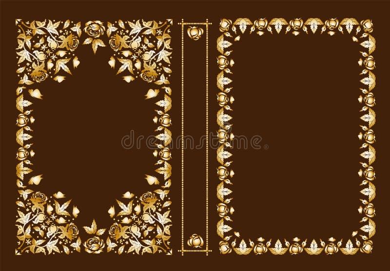 Крышка вектора классическая для книги Декоративные винтажные крышка или рамка для книг и ученических книг Цвет можно изменить иллюстрация штока