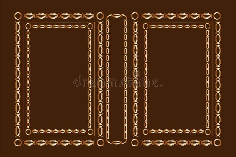 Крышка вектора классическая для книги Декоративные винтажные крышка или рамка для книг и ученических книг иллюстрация вектора