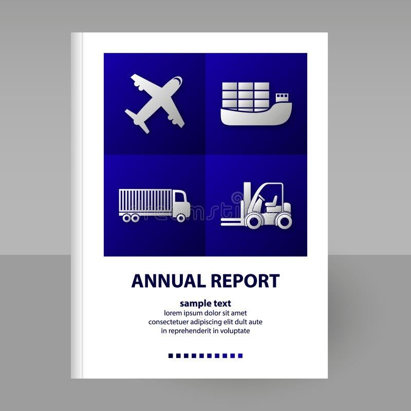 Крышка вектора перехода годового отчета - формата A4 - концепция брошюры плана - синь на белизне иллюстрация штока