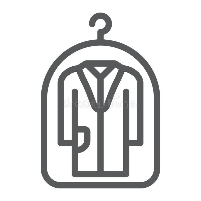 Крышка для значка бельевой веревки, прачечной и защиты, знака химической чистки, векторных график, линейной картины иллюстрация штока