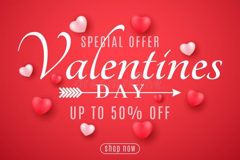 Крышка дня Валентайн для продажи Романтичные небольшие сердца 3D на красной предпосылке Специальное предложение Для вашей рекламы бесплатная иллюстрация