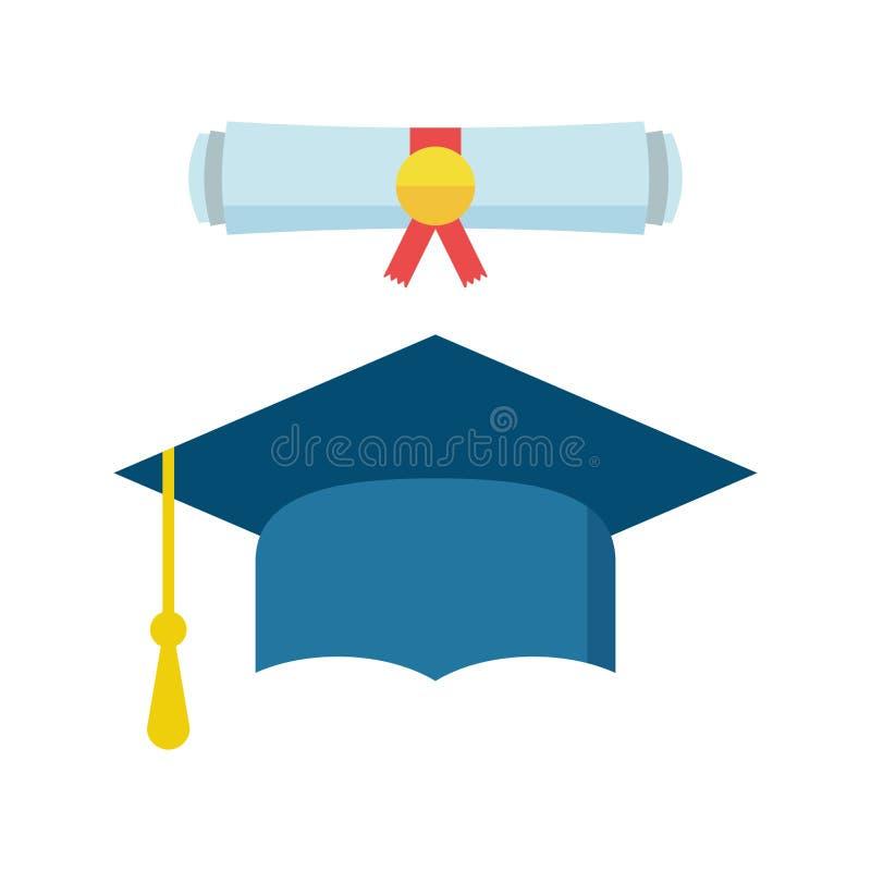 Крышка и диплом градации перечисляют иллюстрацию вектора значка в fl бесплатная иллюстрация