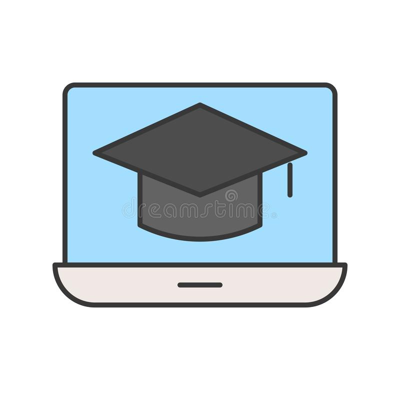 Крышка квадрата академичная на экране ноутбука, онлайн уча жулике курса иллюстрация штока