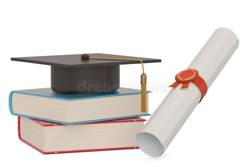 Крышка квадрата академичная с книгами и переченем диплома изолированным на белой предпосылке : бесплатная иллюстрация