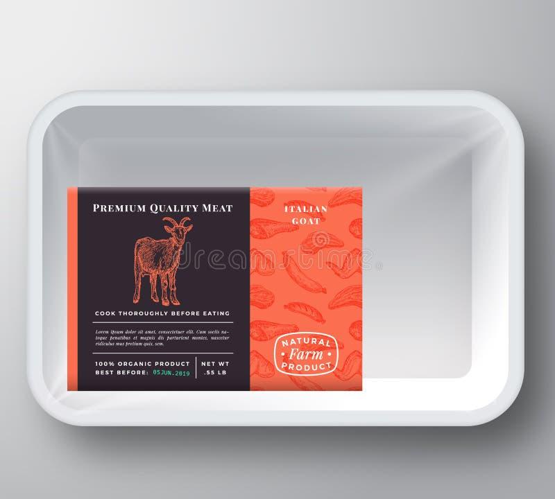Крышка контейнера подноса вектора конспекта козы пластиковая Наградной качественный план ярлыка комплексного конструирования мяса иллюстрация вектора
