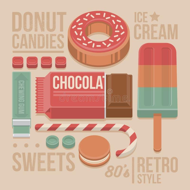 Крышка кондитерскаи винтажная - донут, шоколадный батончик, леденец на палочке, печенья, сладостные конфеты, жевательная резина и иллюстрация вектора