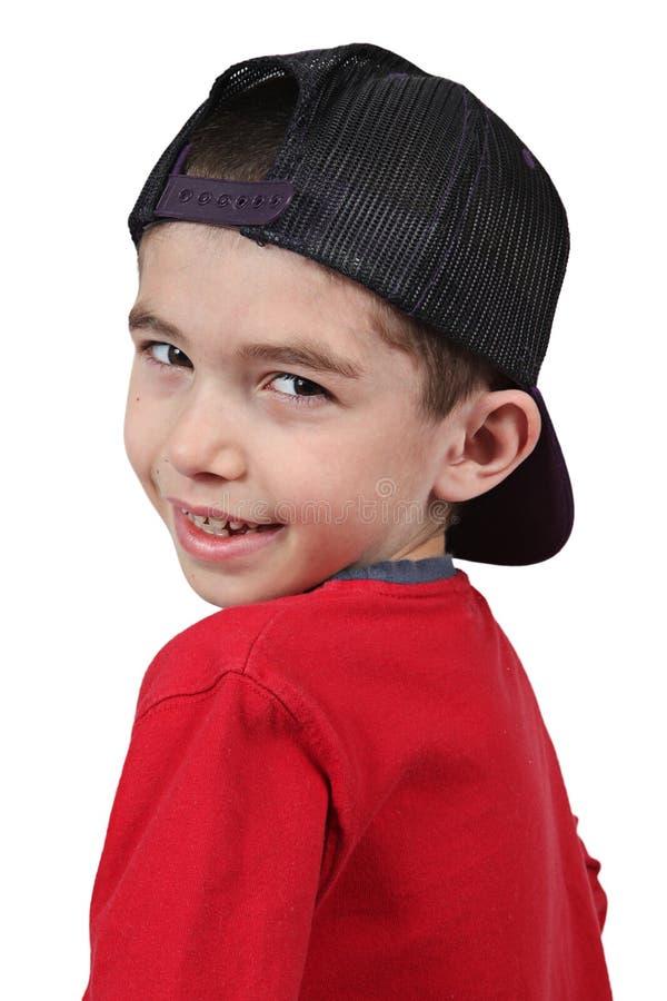 крышка мальчика бейсбола стоковое изображение