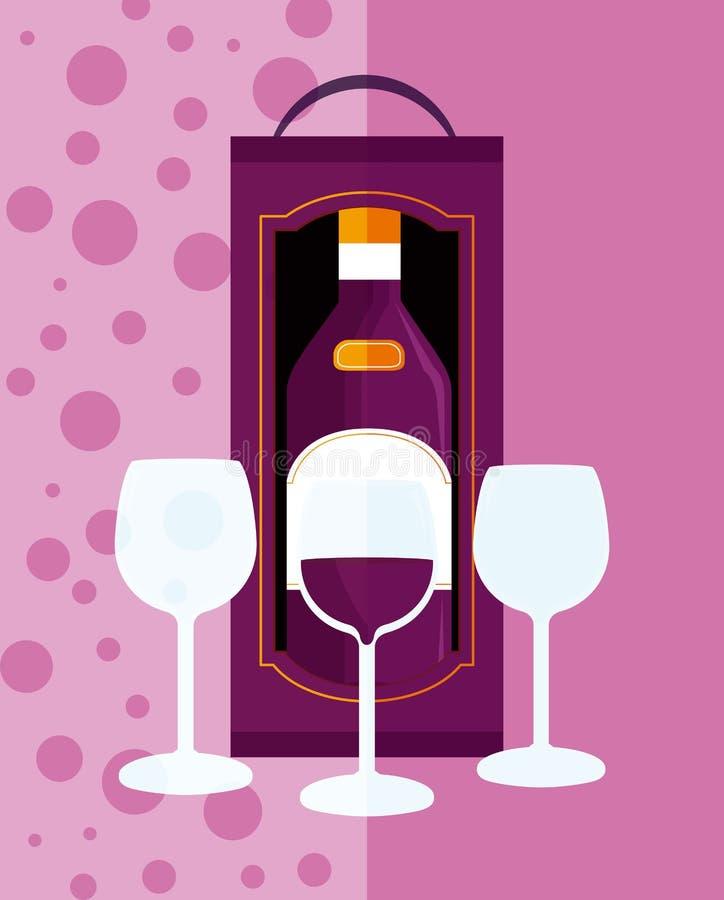Крышка меню вина иллюстрация штока