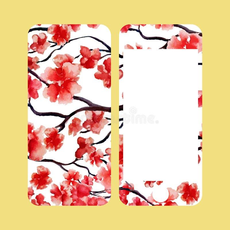 Крышка мобильного телефона назад и экран, японский вишневый цвет или картина дерева Сакуры иллюстрация вектора