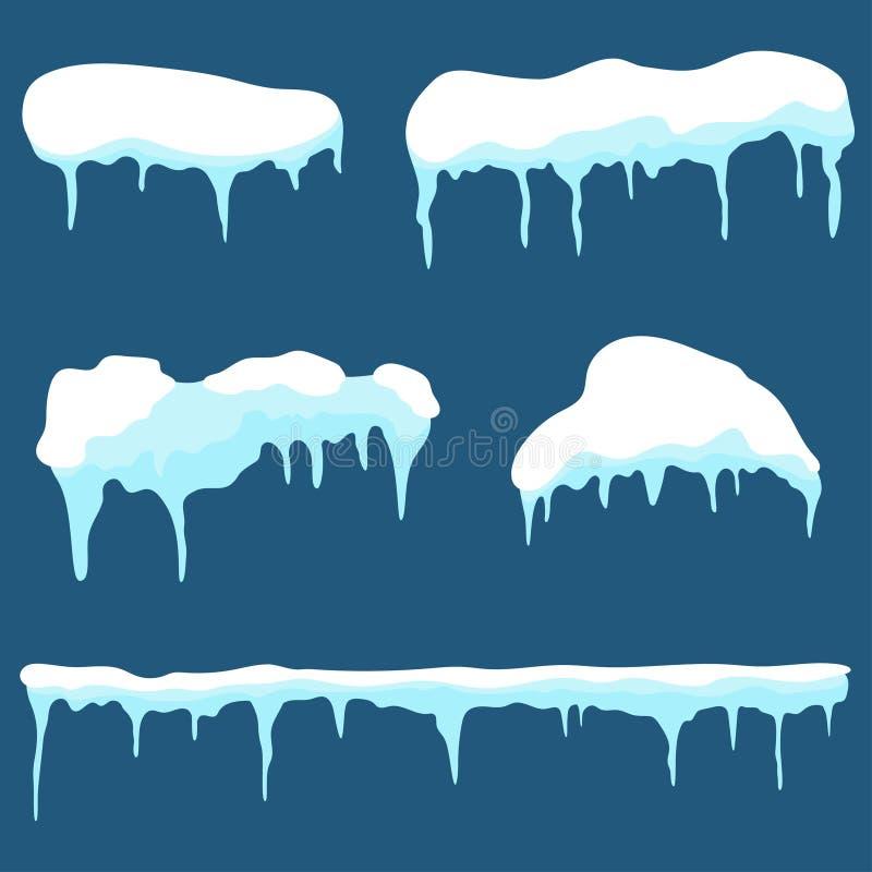 Крышка снега, комплект ледяной шапки Элементы дизайна сугробов и сосулек на предпосылке иллюстрация вектора