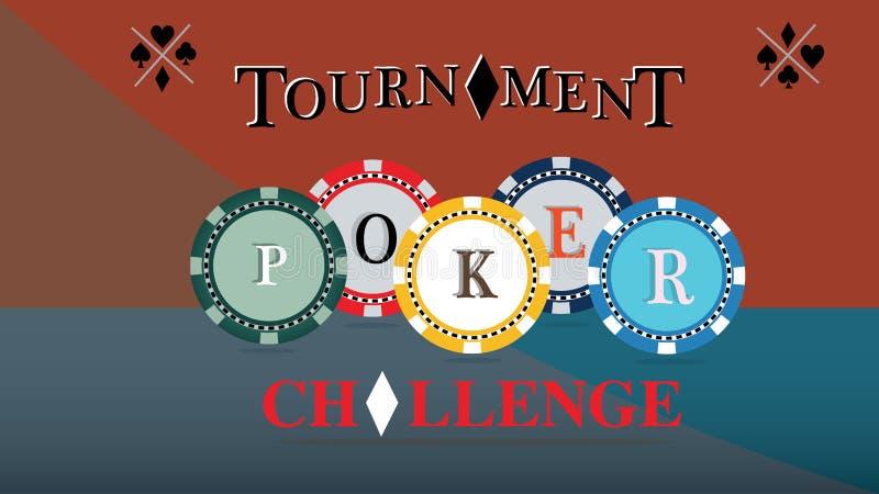 Крышка турнира покера Бросьте вызов плакат игры, иллюстрация обломоков казино Играя в азартные игры символы вектор иллюстрация штока