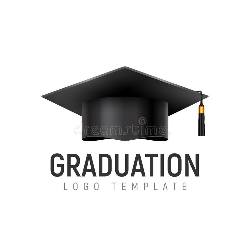 Крышка шаблона логотипа градации Изолированный значок шляпы студента Образование университета иллюстрация штока