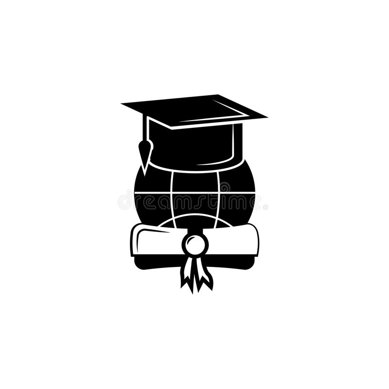 Крышка/шляпа градации с значком диплома Значок градации вектора Образование, учёная степень Наградной качественный графический ди бесплатная иллюстрация