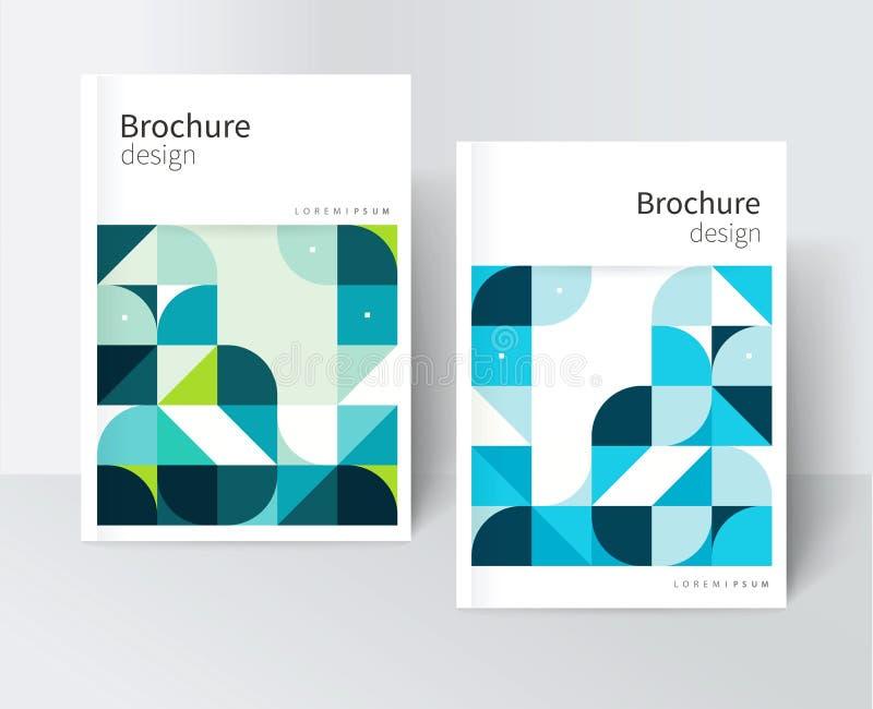 крышка для каталога, отчета, брошюры, плаката Голубые и зеленые абстрактные геометрические формы иллюстрация вектора