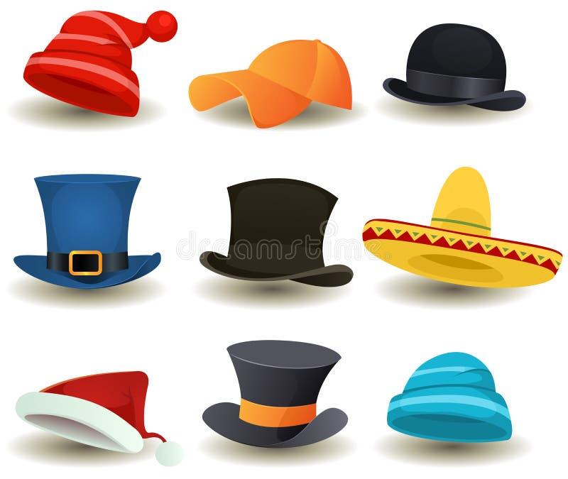 Крышки, верхние шляпы и другой головной комплект носки бесплатная иллюстрация