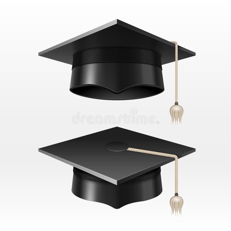 Крышки градации университета академичные с tassel vector иллюстрация бесплатная иллюстрация