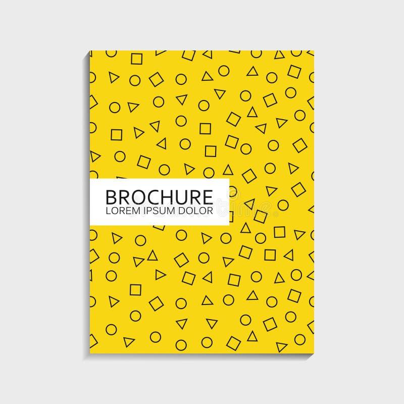 Крышки конструируют для брошюры с картиной Мемфиса - абстрактными dinamic формами - круг, квадрат, треугольник Современный ультра иллюстрация штока