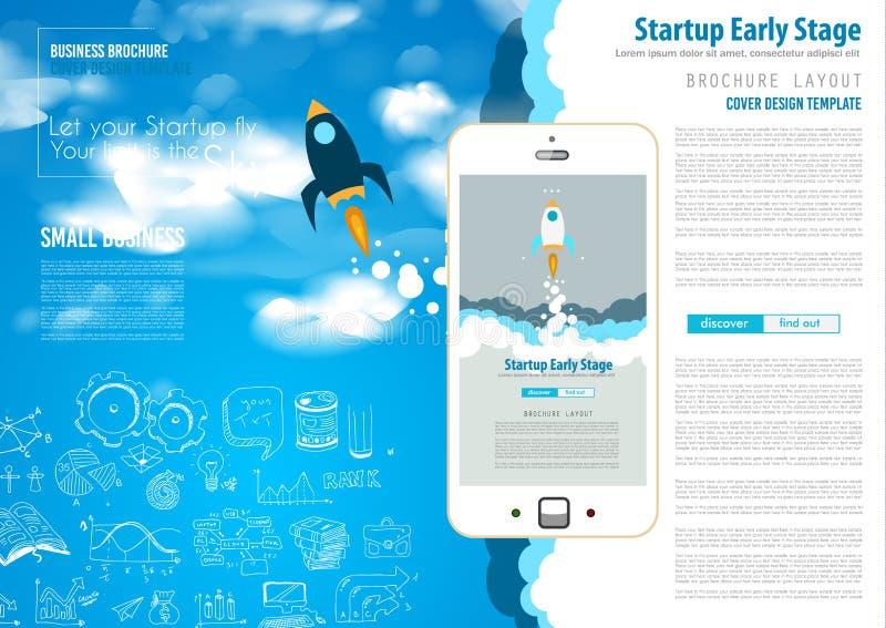 Крышки Startup Веб-страницы посадки или корпоративного дизайна иллюстрация штока