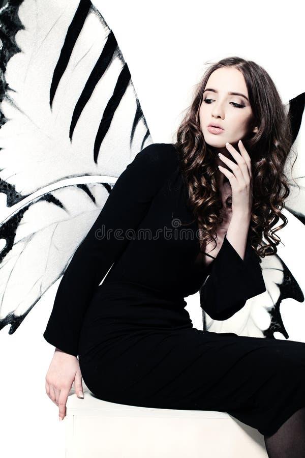 крыла девушки бабочки милые стоковые изображения rf