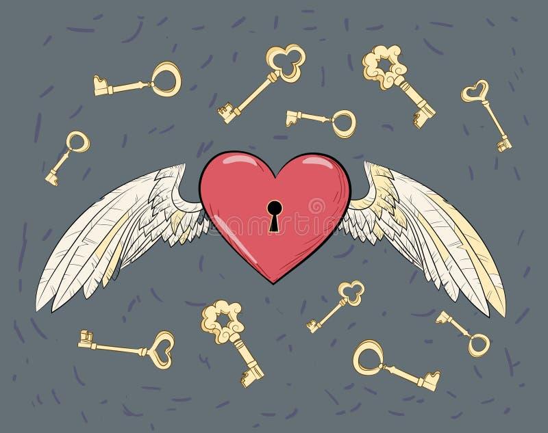 Крыла и сердце вектора иллюстрация штока