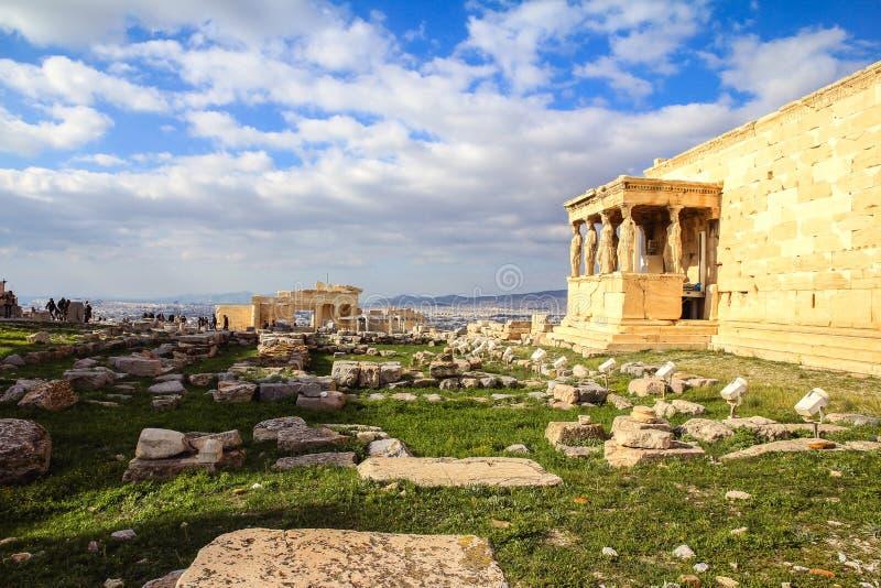 крылечко Греции caryatids atheens акрополя стоковые изображения