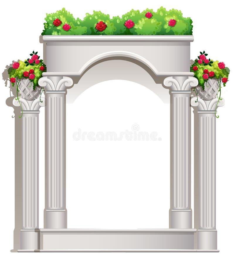 Крылечко с цветковыми растениями иллюстрация штока