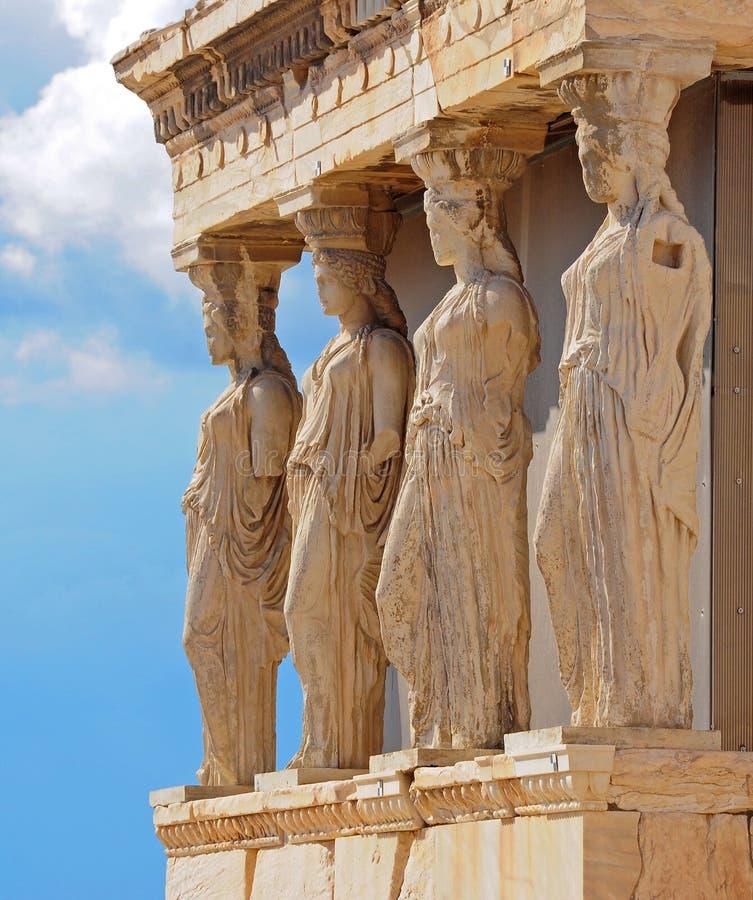 Крылечко Caryatides в акрополе, Афинах, Греции стоковое изображение rf