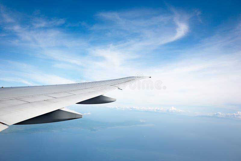 Крыло океана и самолета стоковое фото