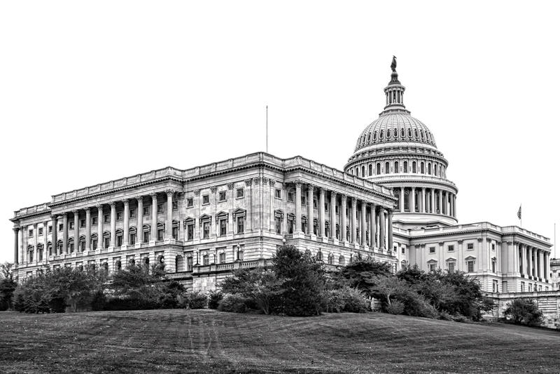 Крыло сената капитолия Соединенных Штатов в DC Вашингтона стоковые изображения