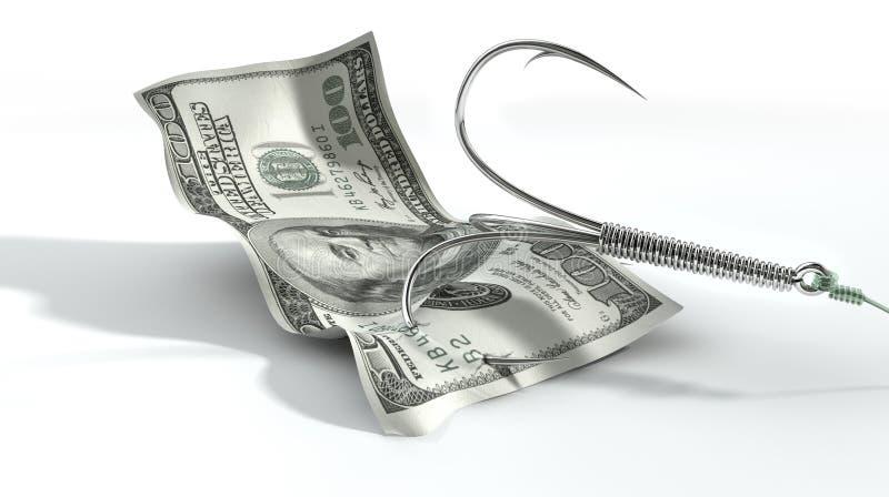 Крюк доллара затравленный банкнотой стоковое фото rf