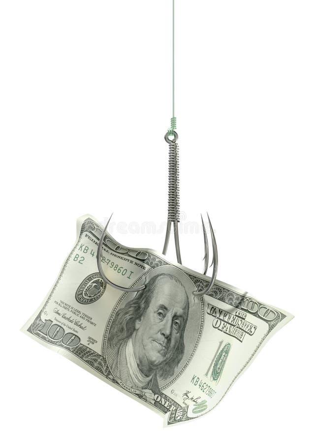Крюк доллара затравленный банкнотой стоковое фото