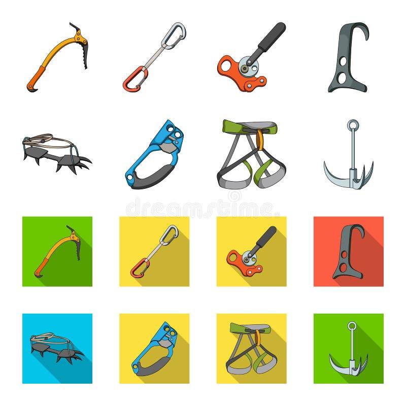 Крюк, проводка альпиниста, страхование и другое оборудование Значки собрания альпинизма установленные в шарже, плоском стиле иллюстрация вектора