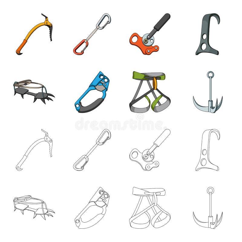 Крюк, проводка альпиниста, страхование и другое оборудование Значки собрания альпинизма установленные в шарже, стиле плана иллюстрация штока