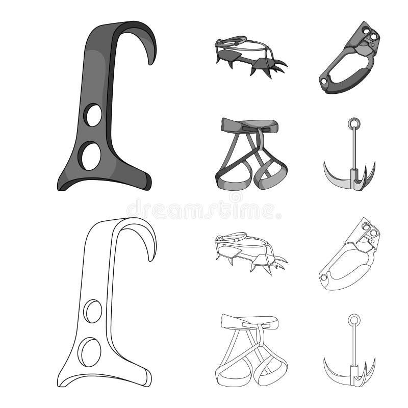 Крюк, проводка альпиниста, страхование и другое оборудование Значки собрания альпинизма установленные в плане, monochrome стиле бесплатная иллюстрация