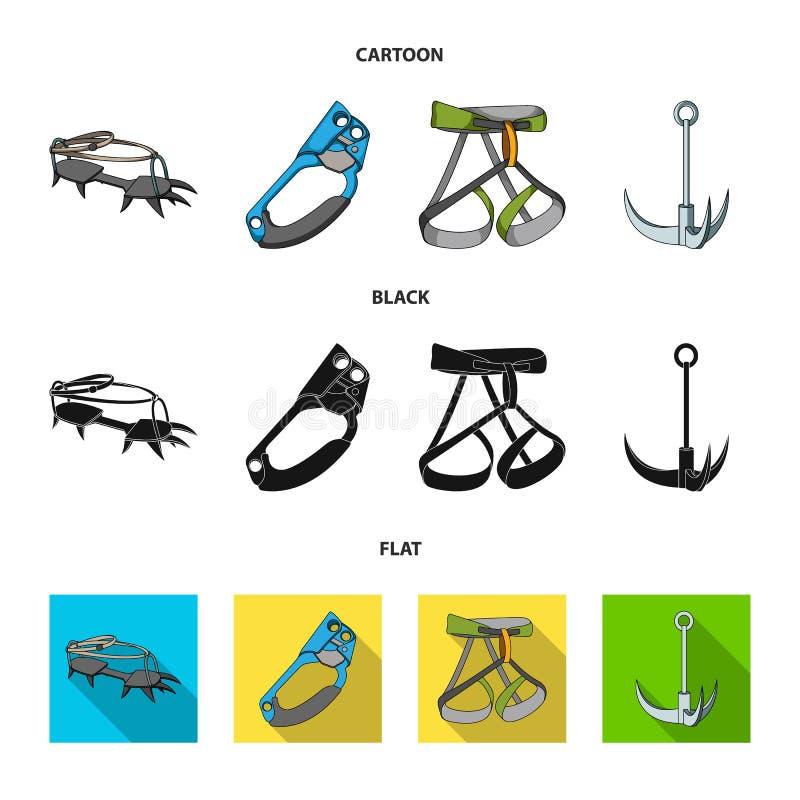 Крюк, проводка альпиниста, страхование и другое оборудование Значки собрания альпинизма установленные в шарже, черноте, плоском с бесплатная иллюстрация