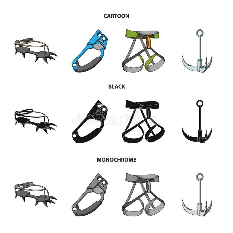 Крюк, проводка альпиниста, страхование и другое оборудование Значки собрания альпинизма установленные в шарже, черноте, monochrom иллюстрация вектора