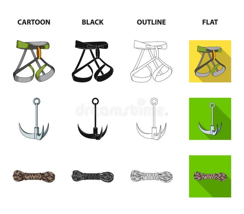 Крюк, проводка альпиниста, страхование и другое оборудование Значки собрания альпинизма установленные в шарже, черноте, плане иллюстрация вектора